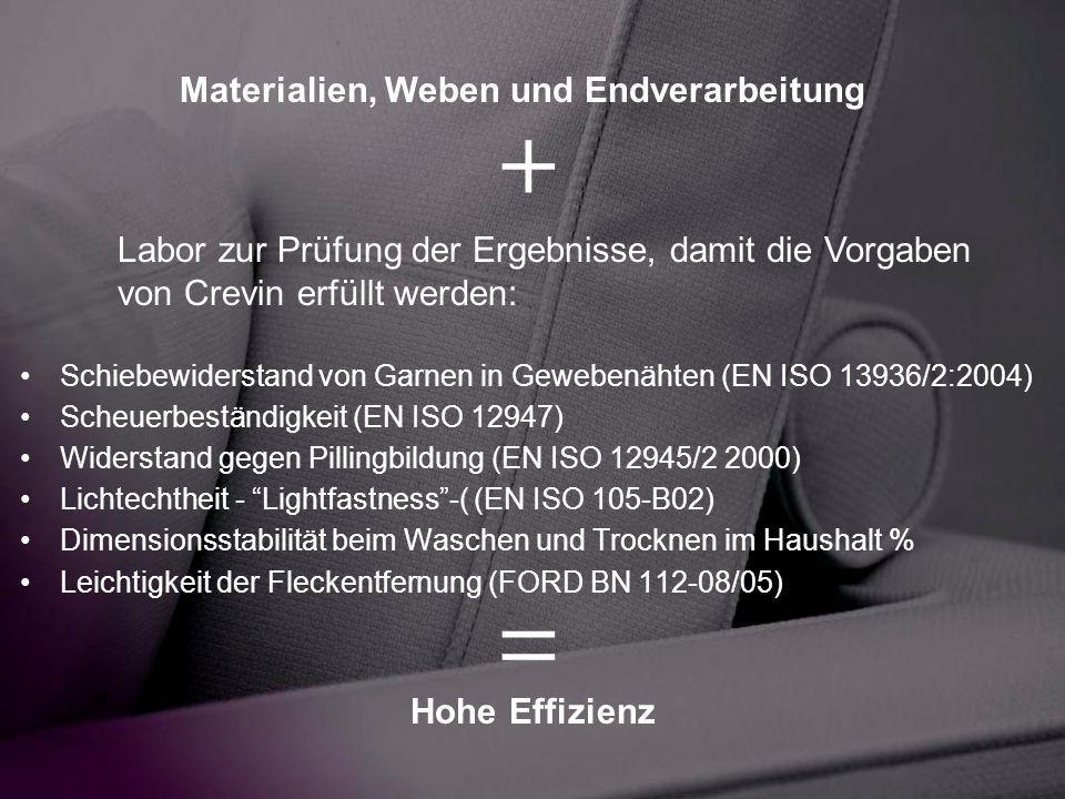Schiebewiderstand von Garnen in Gewebenähten (EN ISO 13936/2:2004) Scheuerbeständigkeit (EN ISO 12947) Widerstand gegen Pillingbildung (EN ISO 12945/2