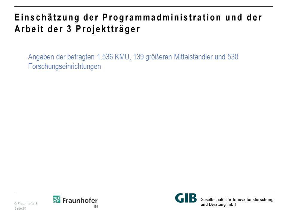 © Fraunhofer ISI Seite 20 Gesellschaft für Innovationsforschung und Beratung mbH Einschätzung der Programmadministration und der Arbeit der 3 Projektträger Angaben der befragten 1.536 KMU, 139 größeren Mittelständler und 530 Forschungseinrichtungen