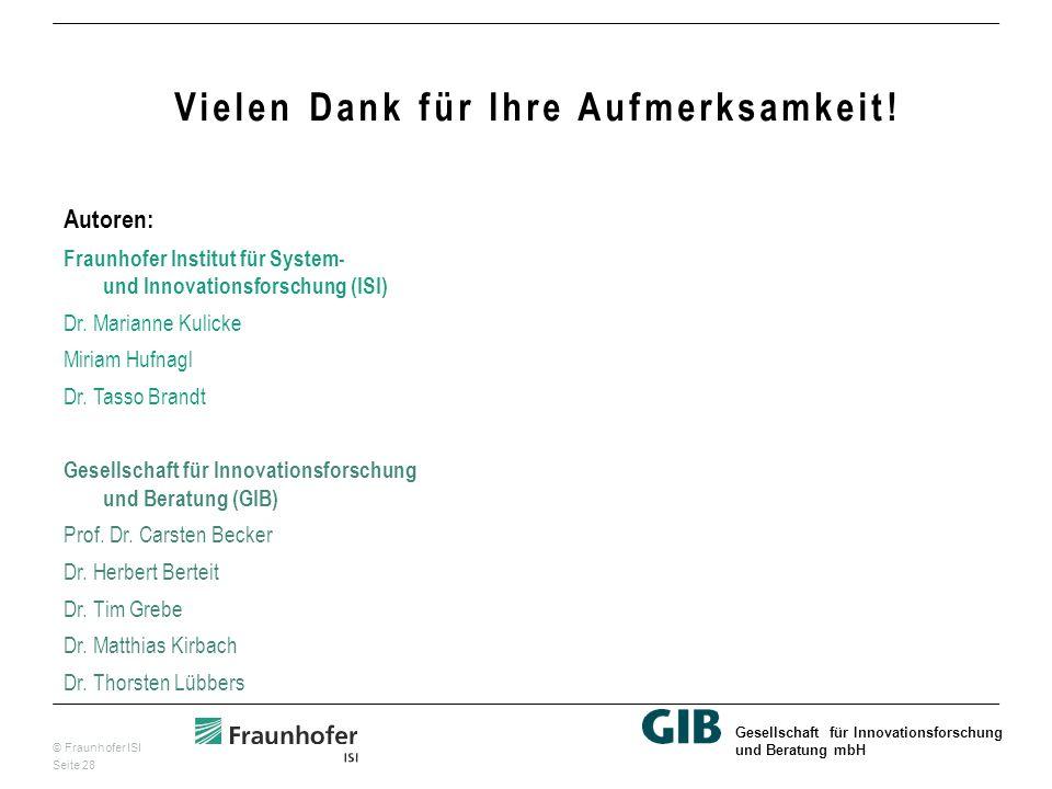 © Fraunhofer ISI Seite 28 Gesellschaft für Innovationsforschung und Beratung mbH Vielen Dank für Ihre Aufmerksamkeit.