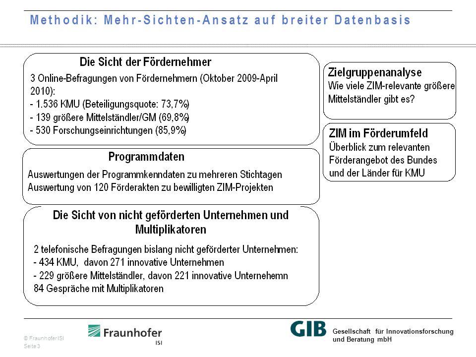 © Fraunhofer ISI Seite 3 Gesellschaft für Innovationsforschung und Beratung mbH Methodik: Mehr-Sichten-Ansatz auf breiter Datenbasis