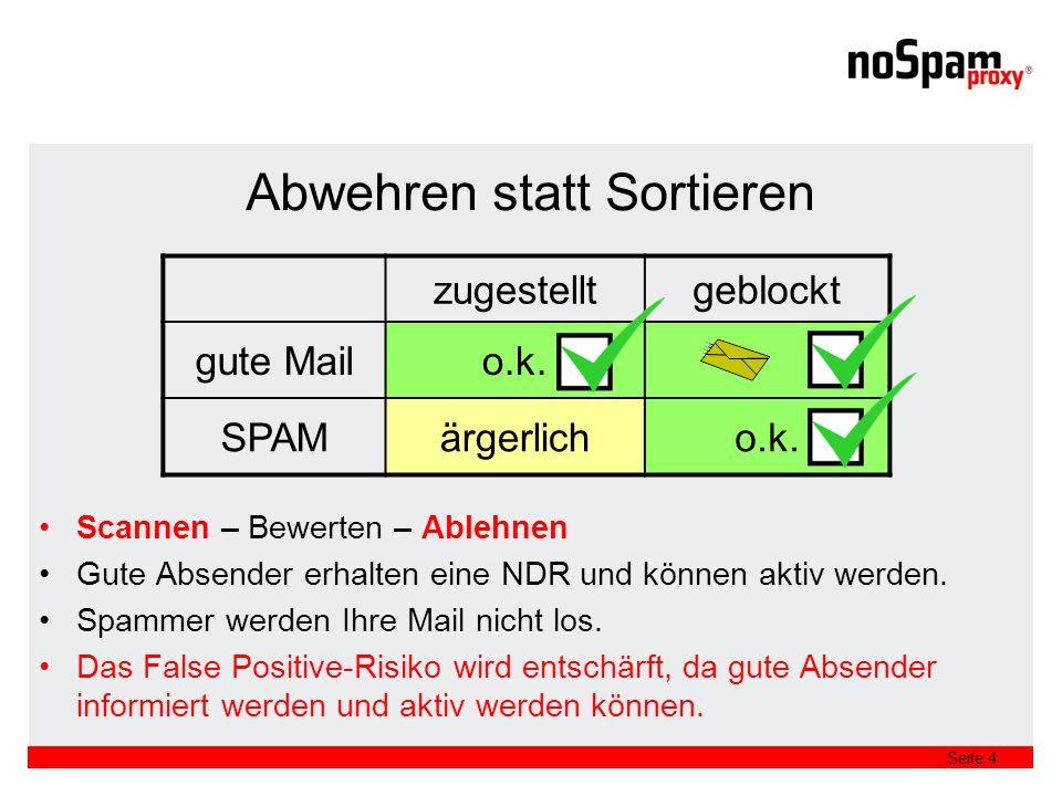 Seite 4 Abwehren statt Sortieren Scannen – Bewerten – Ablehnen Gute Absender erhalten eine NDR und können aktiv werden.