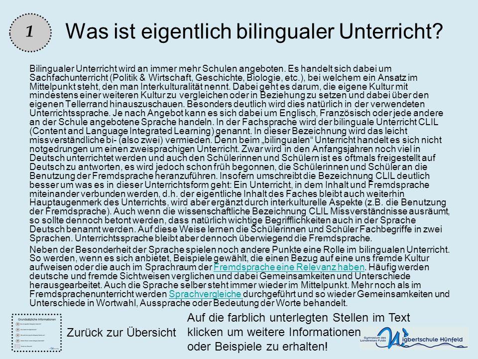 Was ist eigentlich bilingualer Unterricht? Bilingualer Unterricht wird an immer mehr Schulen angeboten. Es handelt sich dabei um Sachfachunterricht (P