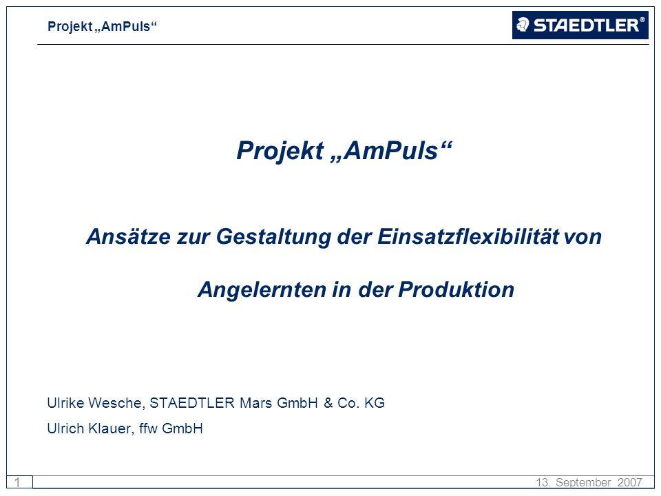 Projekt AmPuls 1 13. September 2007 Projekt AmPuls Ansätze zur Gestaltung der Einsatzflexibilität von Angelernten in der Produktion Ulrike Wesche, STA
