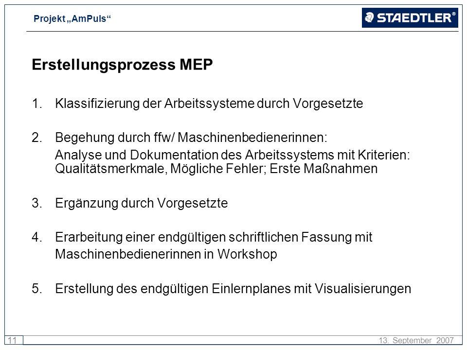 Projekt AmPuls 11 13. September 2007 Erstellungsprozess MEP 1.Klassifizierung der Arbeitssysteme durch Vorgesetzte 2. Begehung durch ffw/ Maschinenbed
