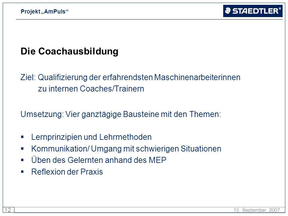 Projekt AmPuls 12 13. September 2007 Die Coachausbildung Ziel: Qualifizierung der erfahrendsten Maschinenarbeiterinnen zu internen Coaches/Trainern Um