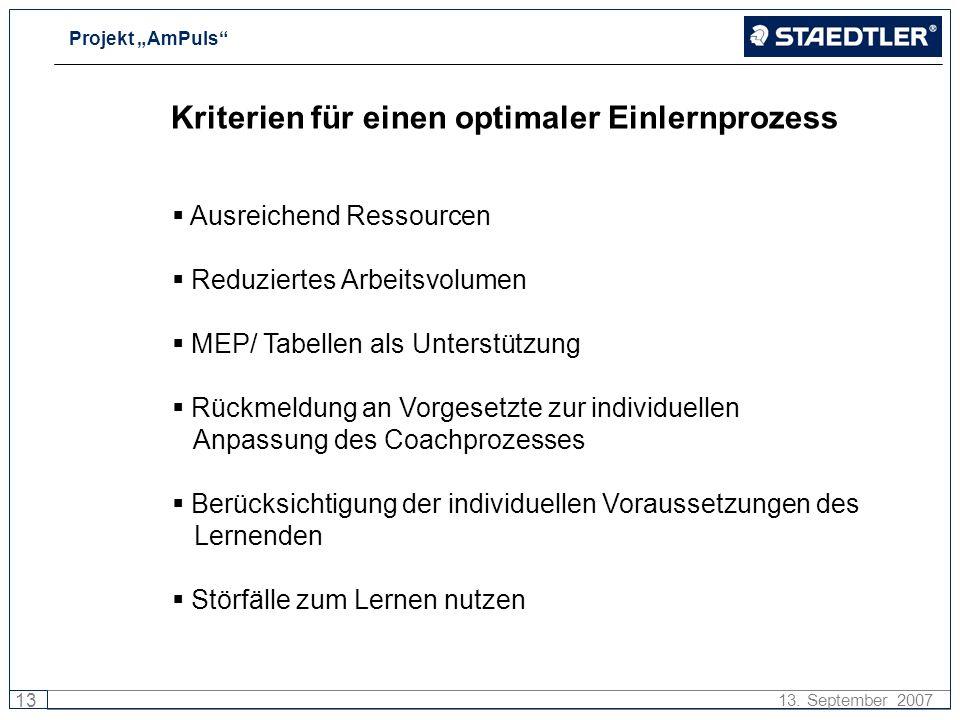 Projekt AmPuls 13 13. September 2007 Kriterien für einen optimaler Einlernprozess Ausreichend Ressourcen Reduziertes Arbeitsvolumen MEP/ Tabellen als