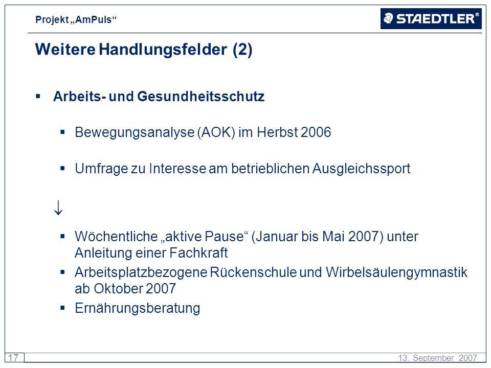 Projekt AmPuls 17 13. September 2007 Weitere Handlungsfelder (2) Arbeits- und Gesundheitsschutz Bewegungsanalyse (AOK) im Herbst 2006 Umfrage zu Inter
