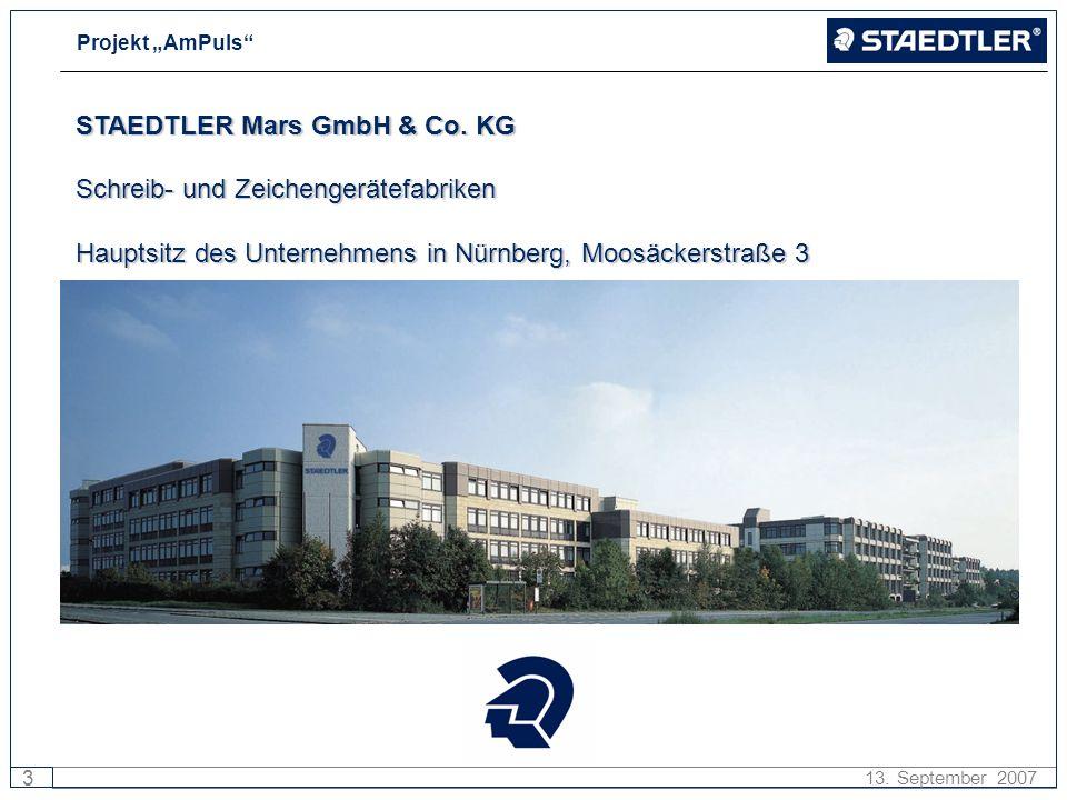 Projekt AmPuls 3 13. September 2007 STAEDTLER Mars GmbH & Co. KG Schreib- und Zeichengerätefabriken Hauptsitz des Unternehmens in Nürnberg, Moosäckers