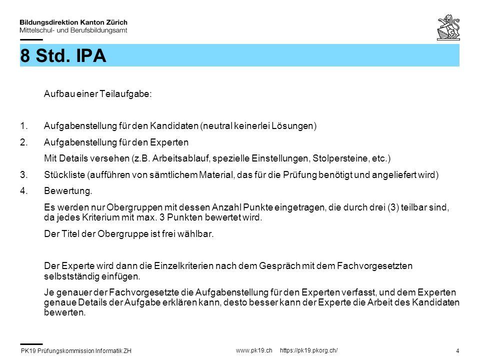 PK19 Prüfungskommission Informatik ZH www.pk19.ch https://pk19.pkorg.ch/ 4 8 Std. IPA Aufbau einer Teilaufgabe: 1.Aufgabenstellung für den Kandidaten