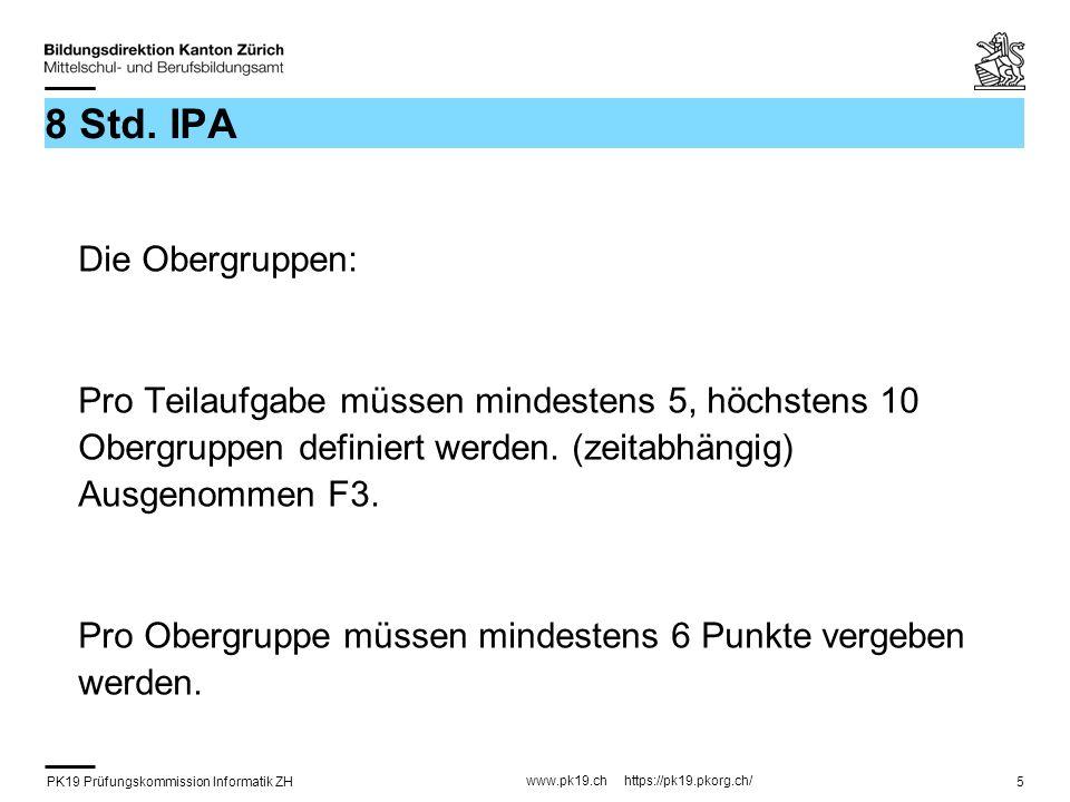 PK19 Prüfungskommission Informatik ZH www.pk19.ch https://pk19.pkorg.ch/ 5 8 Std. IPA Die Obergruppen: Pro Teilaufgabe müssen mindestens 5, höchstens