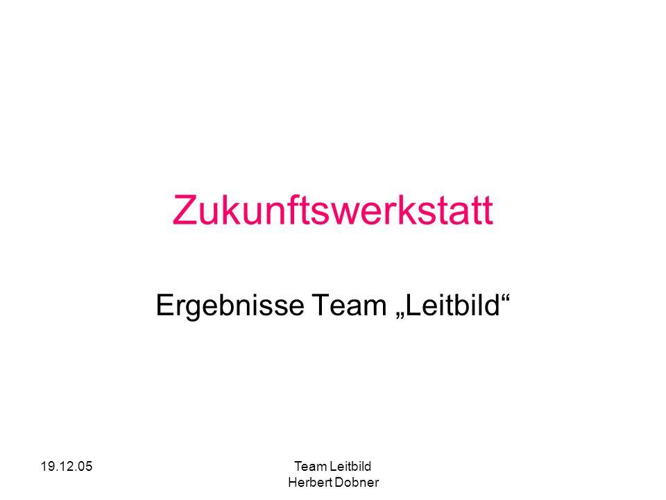 19.12.05Team Leitbild Herbert Dobner Zukunftswerkstatt Ergebnisse Team Leitbild