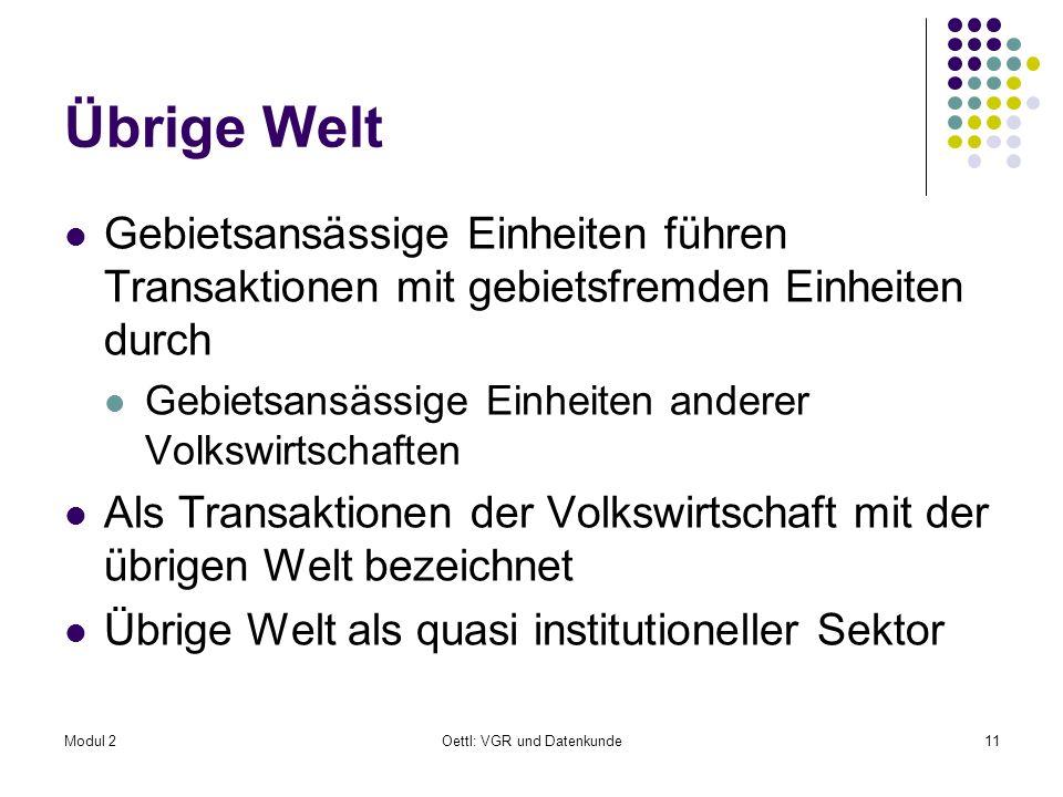 Modul 2Oettl: VGR und Datenkunde11 Übrige Welt Gebietsansässige Einheiten führen Transaktionen mit gebietsfremden Einheiten durch Gebietsansässige Ein