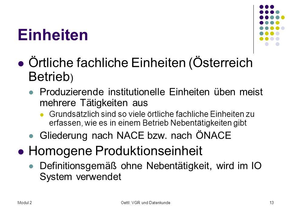 Modul 2Oettl: VGR und Datenkunde13 Einheiten Örtliche fachliche Einheiten (Österreich Betrieb ) Produzierende institutionelle Einheiten üben meist meh