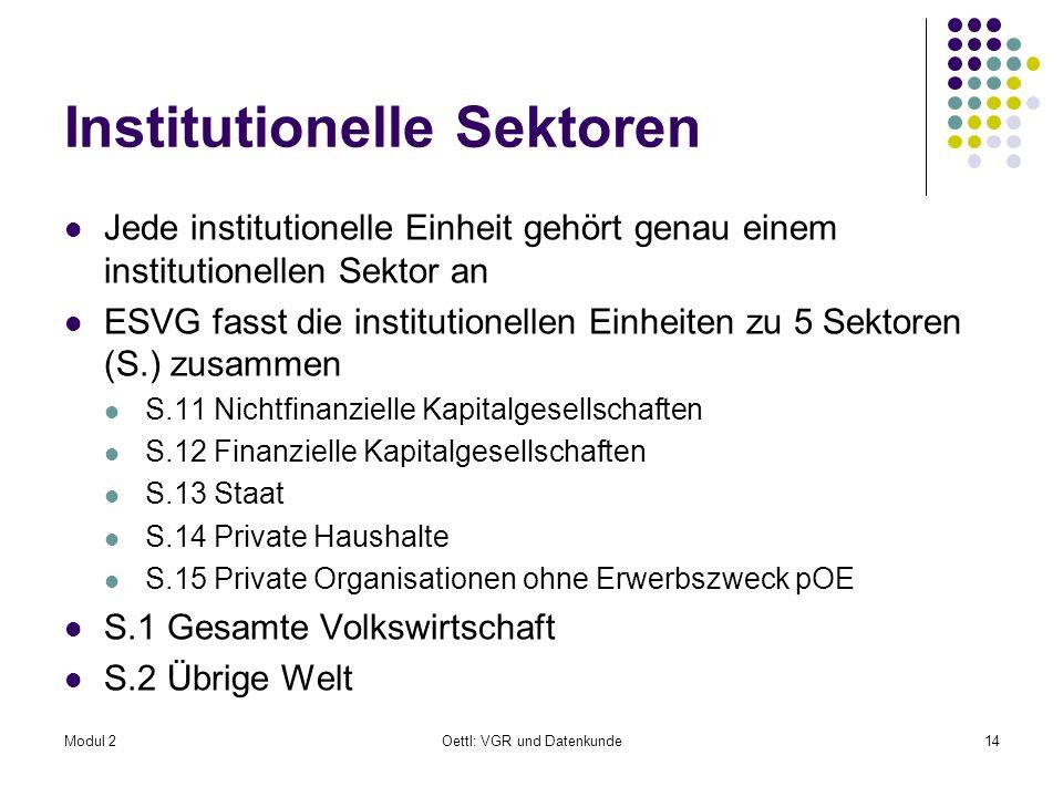 Modul 2Oettl: VGR und Datenkunde14 Institutionelle Sektoren Jede institutionelle Einheit gehört genau einem institutionellen Sektor an ESVG fasst die