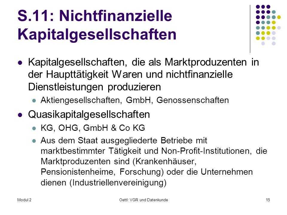 Modul 2Oettl: VGR und Datenkunde15 S.11: Nichtfinanzielle Kapitalgesellschaften Kapitalgesellschaften, die als Marktproduzenten in der Haupttätigkeit