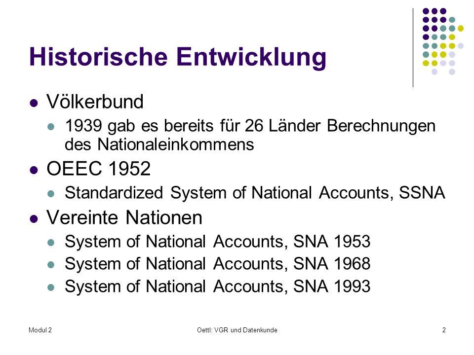 Modul 2Oettl: VGR und Datenkunde2 Historische Entwicklung Völkerbund 1939 gab es bereits für 26 Länder Berechnungen des Nationaleinkommens OEEC 1952 S