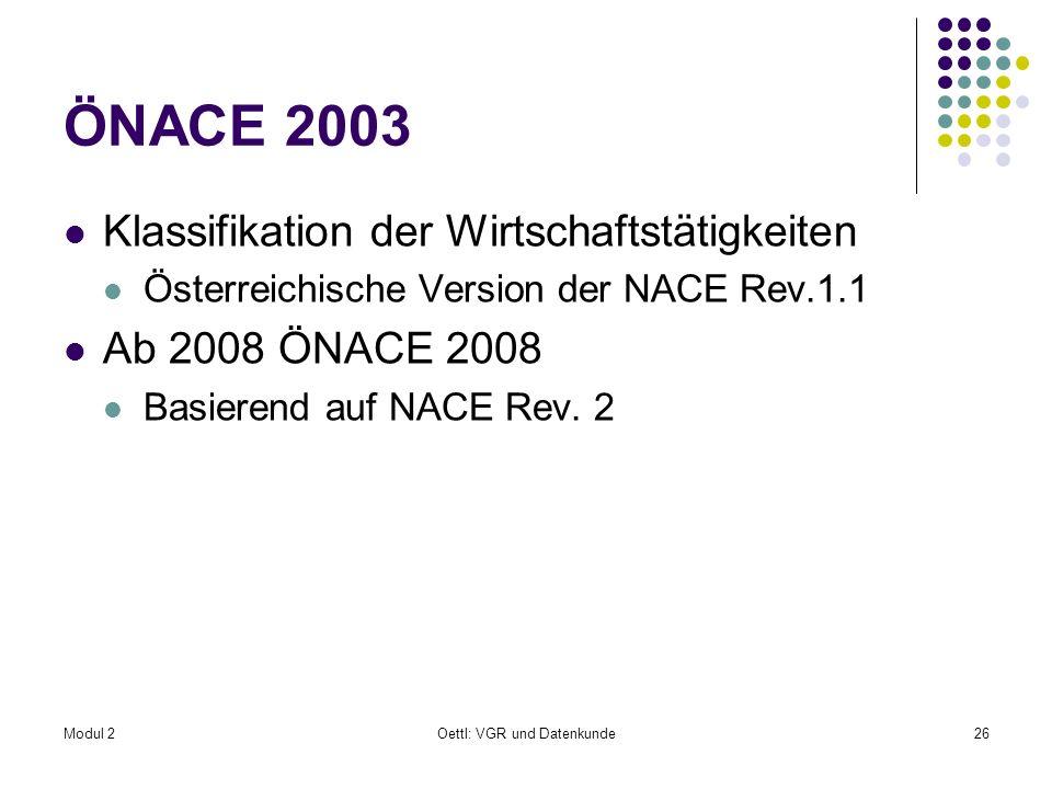 Modul 2Oettl: VGR und Datenkunde26 ÖNACE 2003 Klassifikation der Wirtschaftstätigkeiten Österreichische Version der NACE Rev.1.1 Ab 2008 ÖNACE 2008 Ba