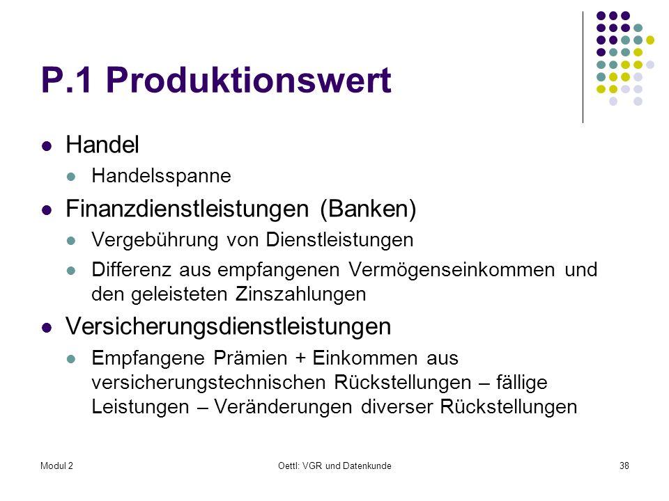 Modul 2Oettl: VGR und Datenkunde38 P.1 Produktionswert Handel Handelsspanne Finanzdienstleistungen (Banken) Vergebührung von Dienstleistungen Differen