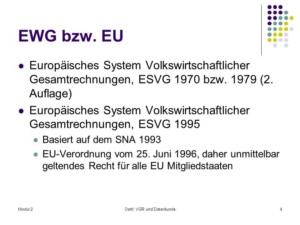 Modul 2Oettl: VGR und Datenkunde5 ESVG 1995 Ist ein international vereinheitlichtes Rechnungssystem, das systematisch und detailliert eine Volkswirtschaft mit ihren wesentlichen Merkmalen und den Beziehungen zu anderen Volkswirtschaften beschreibt Stimmt mit den weltweit geltenden Regeln des SNA 1993 überein