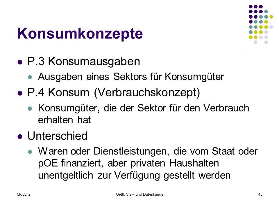 Modul 2Oettl: VGR und Datenkunde40 Konsumkonzepte P.3 Konsumausgaben Ausgaben eines Sektors für Konsumgüter P.4 Konsum (Verbrauchskonzept) Konsumgüter