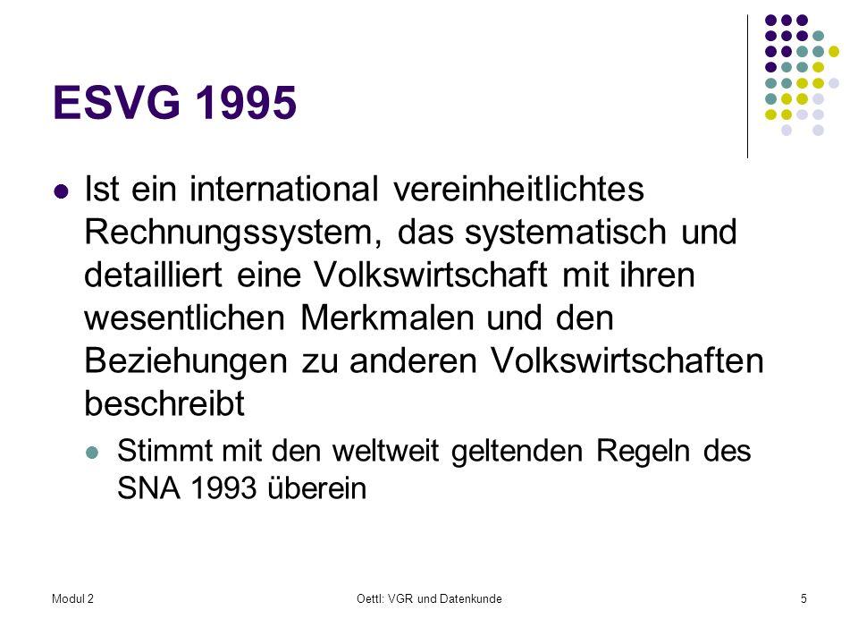 Modul 2Oettl: VGR und Datenkunde86 Außenkonto V V Außenkonto Kontenfolge wie die für die institutionellen Sektoren V.I Außenkonto der Gütertransaktionen V.II Außenkonto der Primäreinkommen und Transfers V.III Außenkonten der Vermögensänderungen V.III.1 Außenkonto der Vermögensbildung V.III.2 Außenkonto der Finanzierungsströme V.III.3 Außenkonto sonstiger Vermögensänderungen V.IV Außenkonto für Vermögen und Verbindlichkeiten