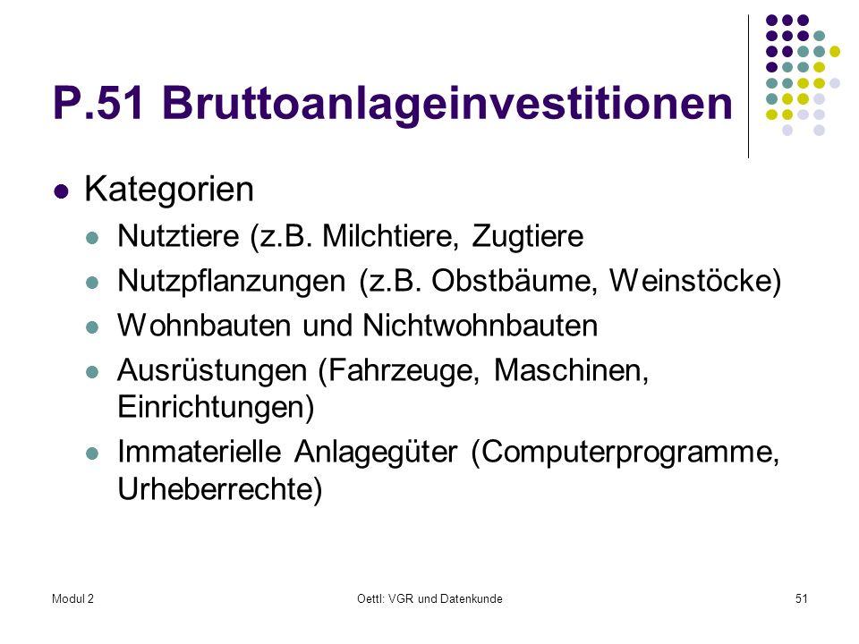 Modul 2Oettl: VGR und Datenkunde51 P.51 Bruttoanlageinvestitionen Kategorien Nutztiere (z.B. Milchtiere, Zugtiere Nutzpflanzungen (z.B. Obstbäume, Wei