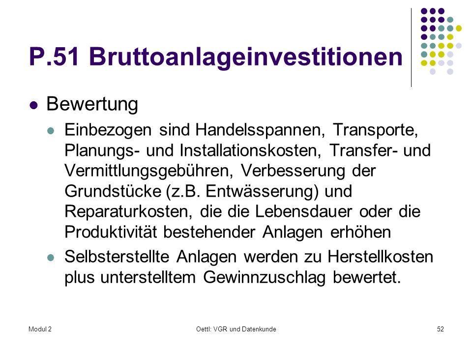 Modul 2Oettl: VGR und Datenkunde52 P.51 Bruttoanlageinvestitionen Bewertung Einbezogen sind Handelsspannen, Transporte, Planungs- und Installationskos