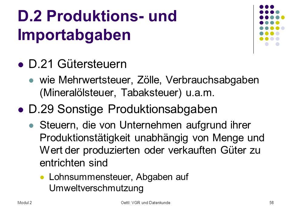 Modul 2Oettl: VGR und Datenkunde58 D.2 Produktions- und Importabgaben D.21 Gütersteuern wie Mehrwertsteuer, Zölle, Verbrauchsabgaben (Mineralölsteuer,