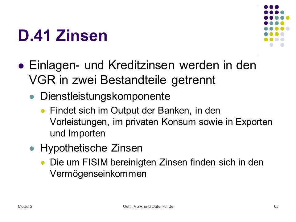 Modul 2Oettl: VGR und Datenkunde63 D.41 Zinsen Einlagen- und Kreditzinsen werden in den VGR in zwei Bestandteile getrennt Dienstleistungskomponente Fi