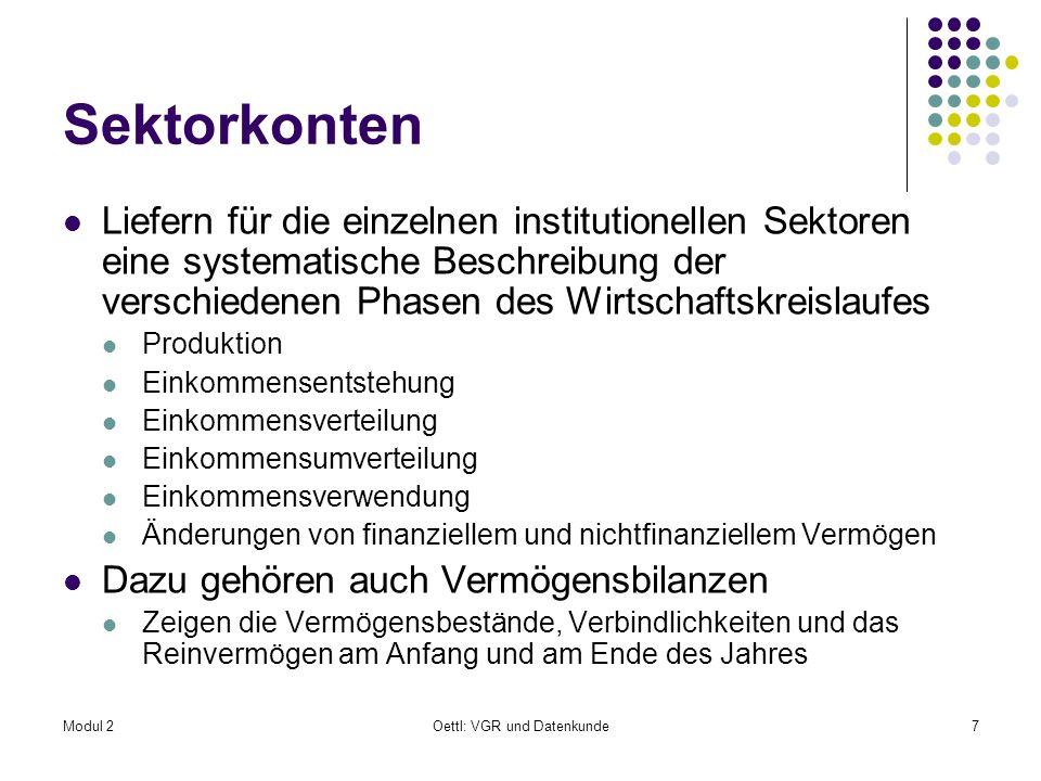 Modul 2Oettl: VGR und Datenkunde7 Sektorkonten Liefern für die einzelnen institutionellen Sektoren eine systematische Beschreibung der verschiedenen P