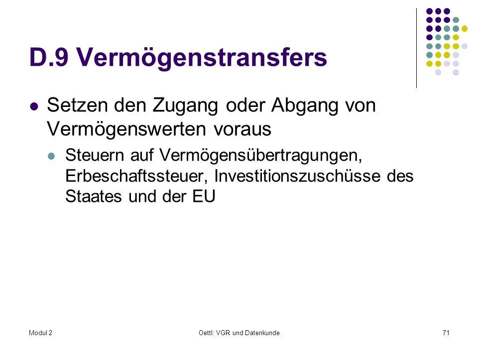 Modul 2Oettl: VGR und Datenkunde71 D.9 Vermögenstransfers Setzen den Zugang oder Abgang von Vermögenswerten voraus Steuern auf Vermögensübertragungen,