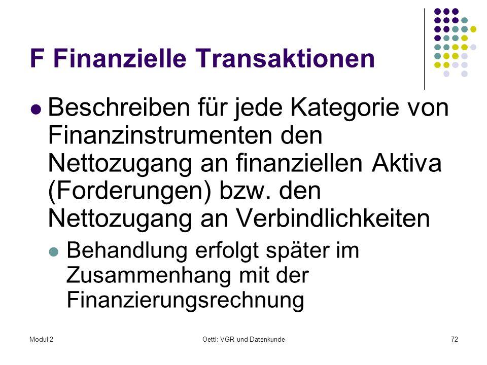 Modul 2Oettl: VGR und Datenkunde72 F Finanzielle Transaktionen Beschreiben für jede Kategorie von Finanzinstrumenten den Nettozugang an finanziellen A