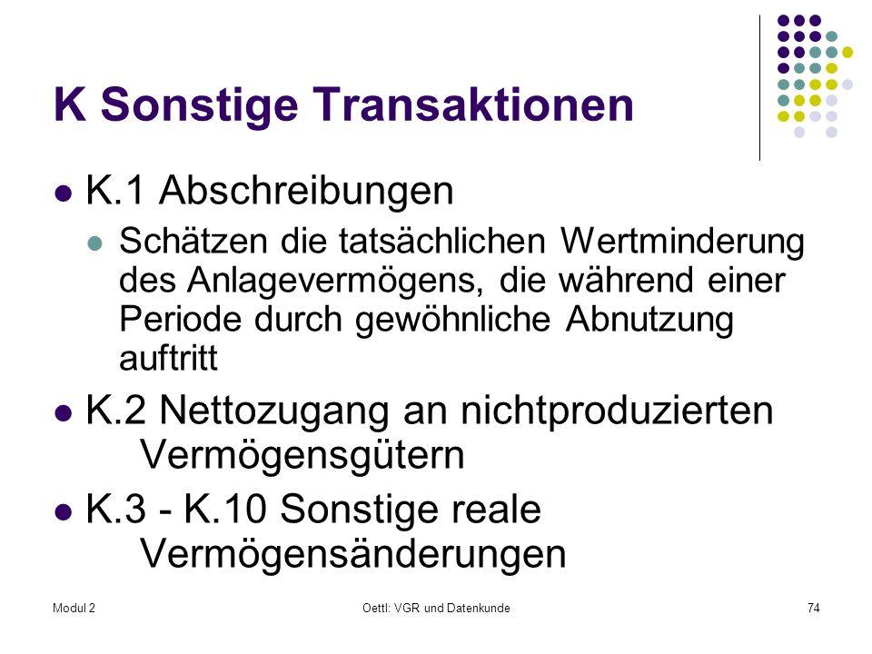Modul 2Oettl: VGR und Datenkunde74 K Sonstige Transaktionen K.1 Abschreibungen Schätzen die tatsächlichen Wertminderung des Anlagevermögens, die währe