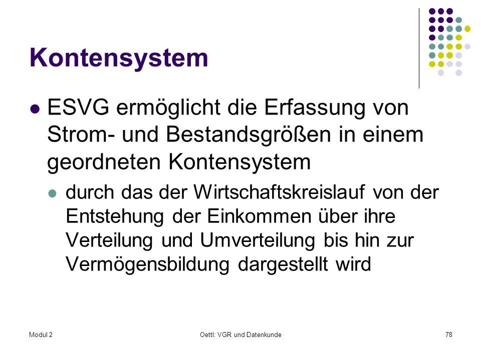 Modul 2Oettl: VGR und Datenkunde78 Kontensystem ESVG ermöglicht die Erfassung von Strom- und Bestandsgrößen in einem geordneten Kontensystem durch das
