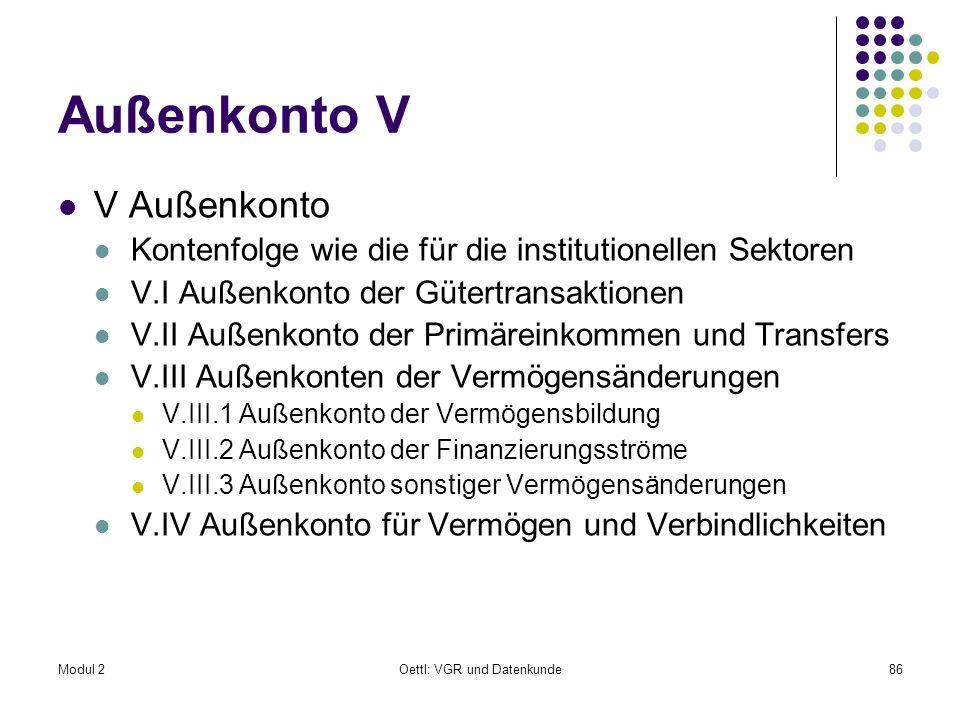 Modul 2Oettl: VGR und Datenkunde86 Außenkonto V V Außenkonto Kontenfolge wie die für die institutionellen Sektoren V.I Außenkonto der Gütertransaktion