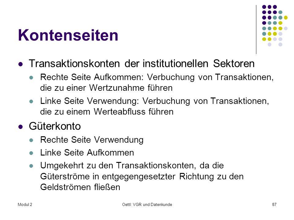 Modul 2Oettl: VGR und Datenkunde87 Kontenseiten Transaktionskonten der institutionellen Sektoren Rechte Seite Aufkommen: Verbuchung von Transaktionen,