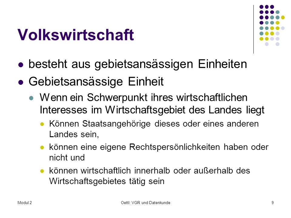 Modul 2Oettl: VGR und Datenkunde80 Kontenabfolge nach Statistik Austria I.
