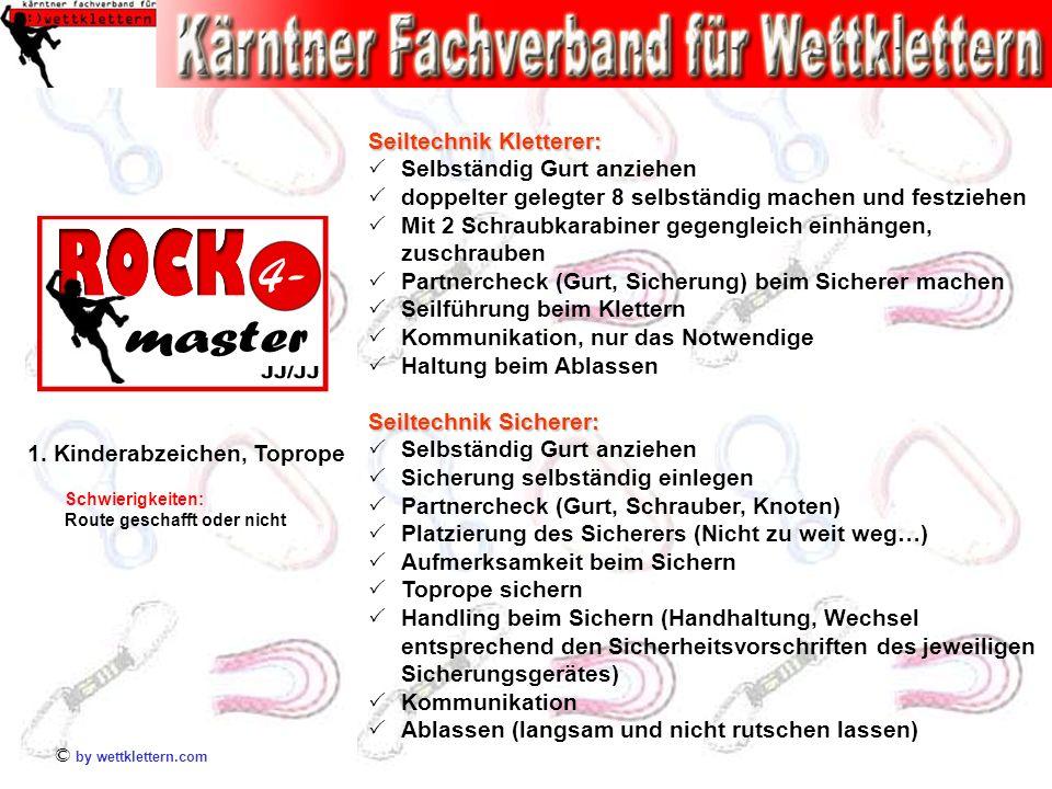 © by wettklettern.com Schwierigkeiten: Route geschafft oder nicht 1. Kinderabzeichen, Toprope Seiltechnik Kletterer: Selbständig Gurt anziehen doppelt