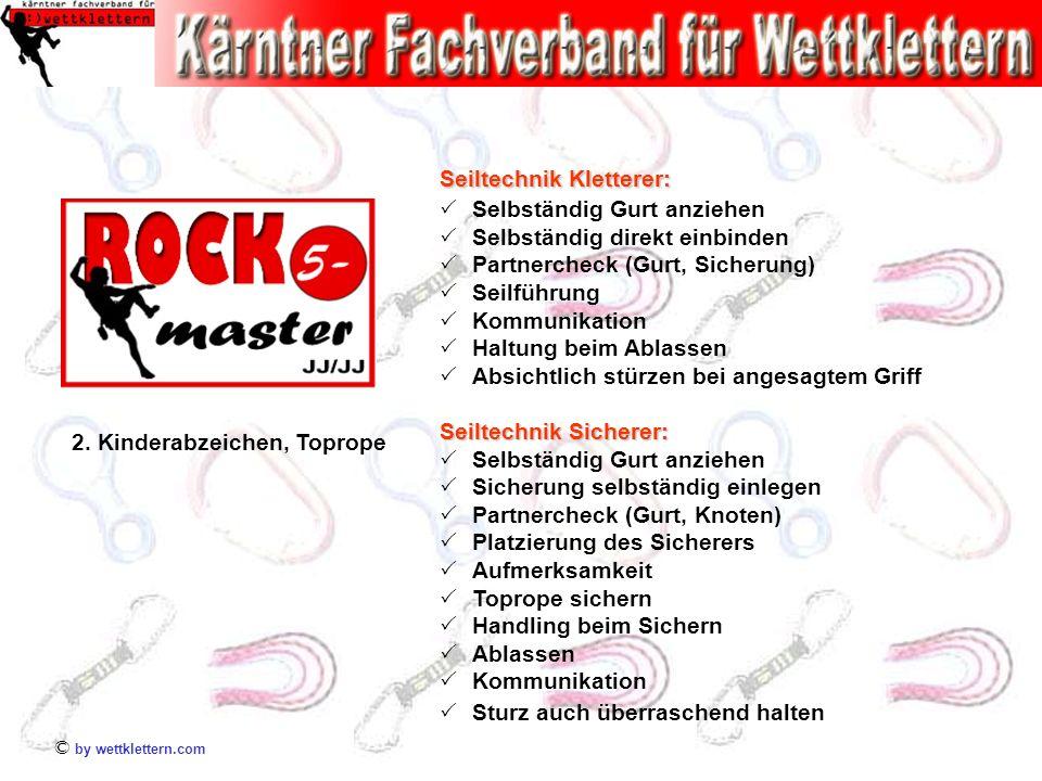 © by wettklettern.com 2. Kinderabzeichen, Toprope Seiltechnik Kletterer: Selbständig Gurt anziehen Selbständig direkt einbinden Partnercheck (Gurt, Si