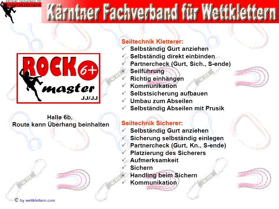 © by wettklettern.com Seiltechnik Kletterer: Selbständig Gurt anziehen Selbständig direkt einbinden Partnercheck (Gurt, Sich., S-ende) Seilführung Ric