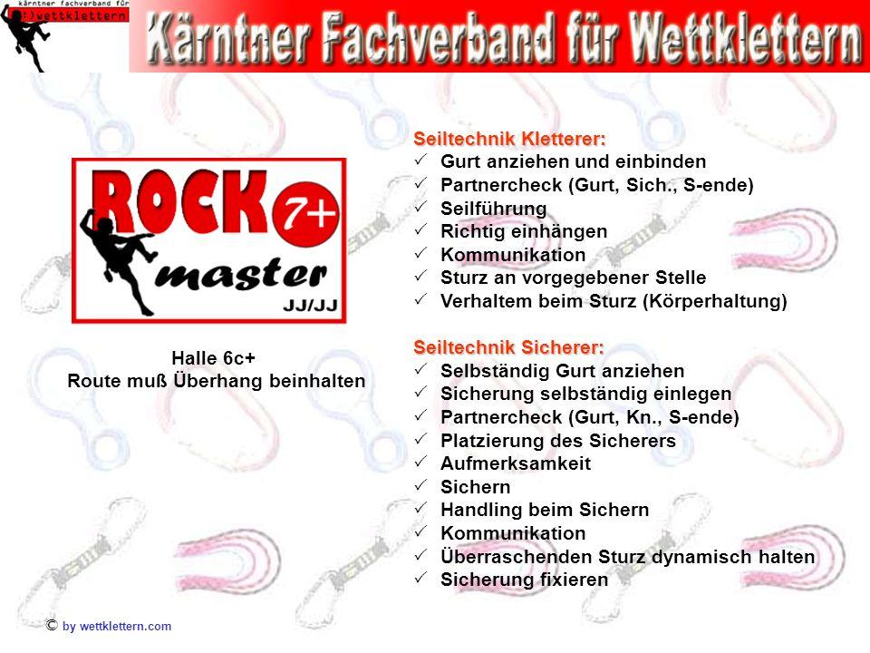 © by wettklettern.com Halle 6c+ Route muß Überhang beinhalten Seiltechnik Kletterer: Gurt anziehen und einbinden Partnercheck (Gurt, Sich., S-ende) Se