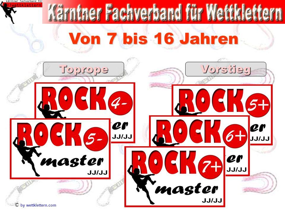 © by wettklettern.com TopropeVorstieg Von 7 bis 16 Jahren