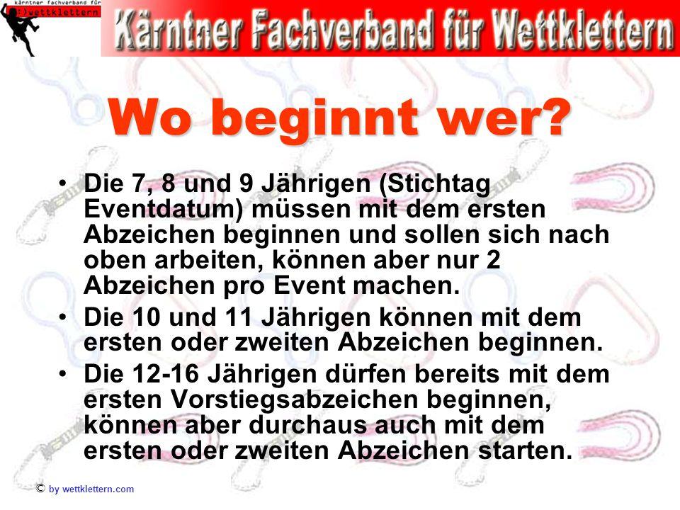 © by wettklettern.com Wo beginnt wer? Die 7, 8 und 9 Jährigen (Stichtag Eventdatum) müssen mit dem ersten Abzeichen beginnen und sollen sich nach oben