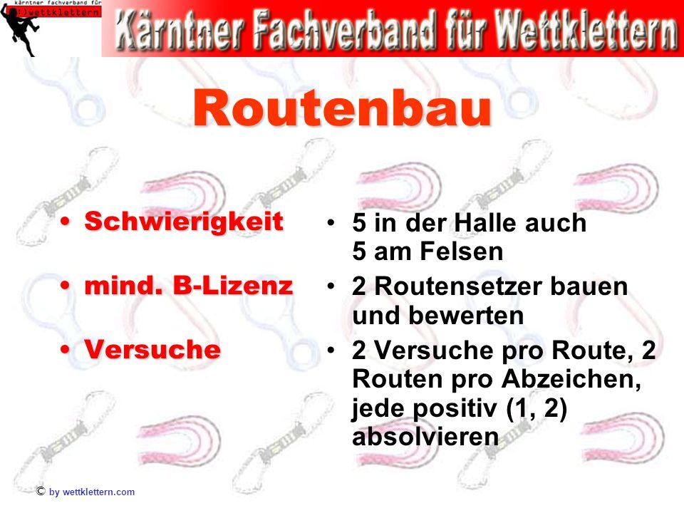 © by wettklettern.com Routenbau SchwierigkeitSchwierigkeit mind. B-Lizenzmind. B-Lizenz VersucheVersuche 5 in der Halle auch 5 am Felsen 2 Routensetze