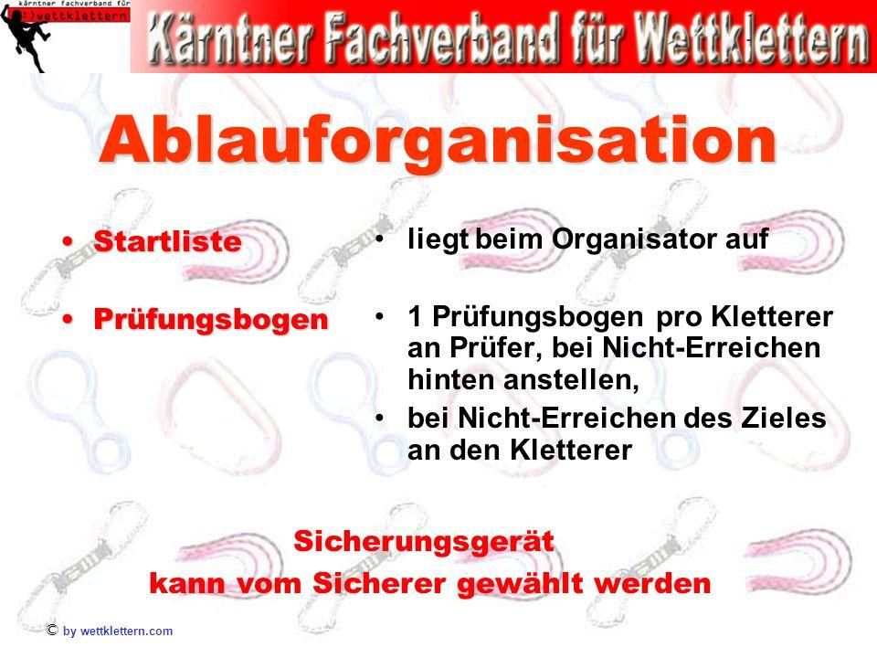 © by wettklettern.com Ablauforganisation StartlisteStartliste PrüfungsbogenPrüfungsbogen liegt beim Organisator auf 1 Prüfungsbogen pro Kletterer an P