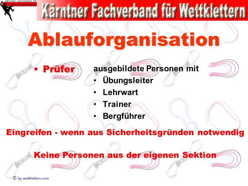 © by wettklettern.com Ablauforganisation PrüferPrüfer ausgebildete Personen mit Übungsleiter Lehrwart Trainer Bergführer Eingreifen - wenn aus Sicherh
