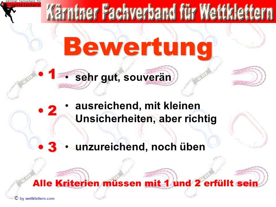 © by wettklettern.com Bewertung 1 2 3 sehr gut, souverän ausreichend, mit kleinen Unsicherheiten, aber richtig unzureichend, noch üben Alle Kriterien