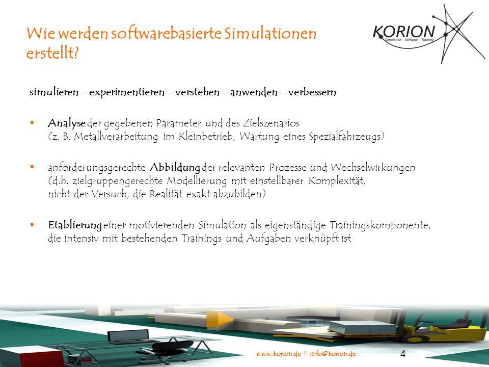 www.korion.de || info@korion.de 15 Technische Alternativen bei der Entwicklung von Simulationen Zeitkonzept: realtime oder turnbased.