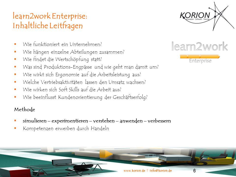 www.korion.de || info@korion.de 17 Abbildung von Prozessen in learn2work