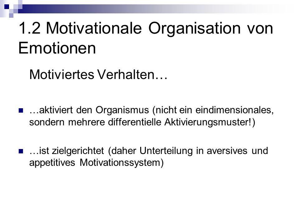 1.2 Motivationale Organisation von Emotionen Motiviertes Verhalten… …aktiviert den Organismus (nicht ein eindimensionales, sondern mehrere differentielle Aktivierungsmuster!) …ist zielgerichtet (daher Unterteilung in aversives und appetitives Motivationssystem)